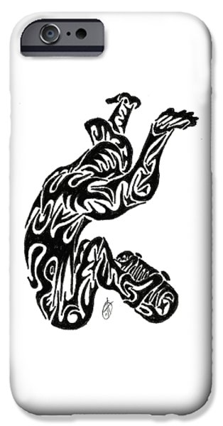 Abstract Digital Drawings iPhone Cases - Skate  iPhone Case by AR Teeter