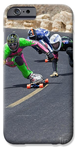 Skateboards iPhone Cases - Skateboarders Racing iPhone Case by Inga Spence