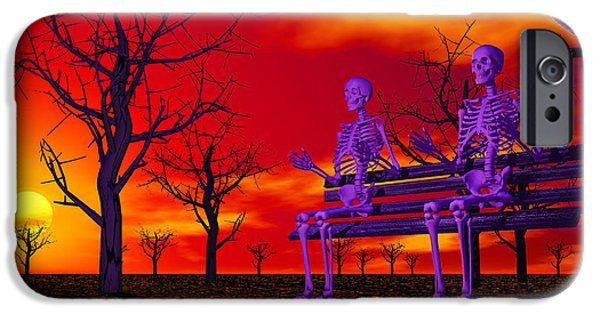 Eerie iPhone Cases - Skeleton Bench iPhone Case by Mark Blauhoefer