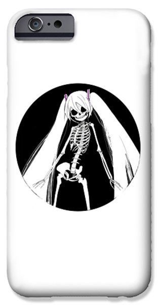 Creepy iPhone Cases - skeleton Hatsune Miku iPhone Case by Jane Vindom