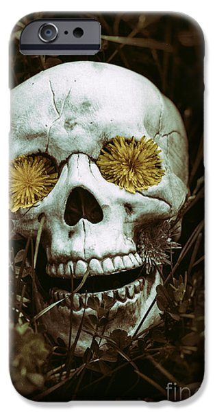 Creepy iPhone Cases - Skeleton in the Grass 2 iPhone Case by Atomazul