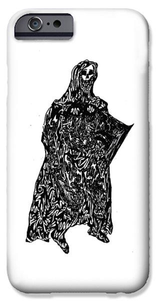 Abstract Digital Drawings iPhone Cases - Skeleton Warrior iPhone Case by AR Teeter