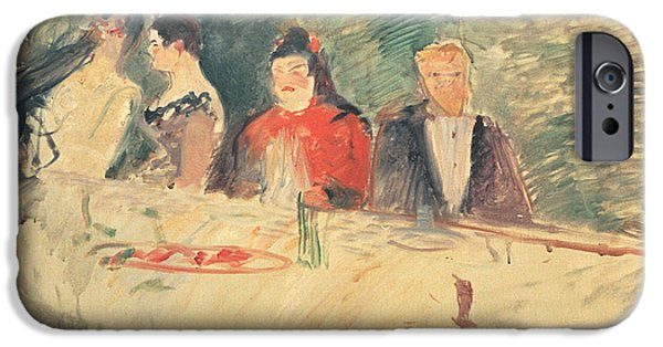 Table Cloth iPhone Cases - Sketch For The Supper iPhone Case by Henri De Toulouse-Lautrec