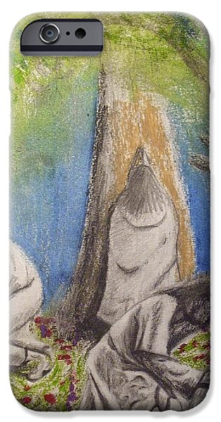 Flora Drawings iPhone Cases - Sketch of Jesus Praying In Different Locations iPhone Case by Scott Phillips