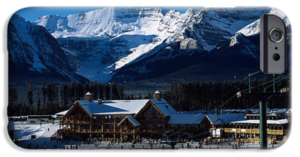 Snowy Day iPhone Cases - Ski Resort Banff National Park Alberta iPhone Case by Panoramic Images