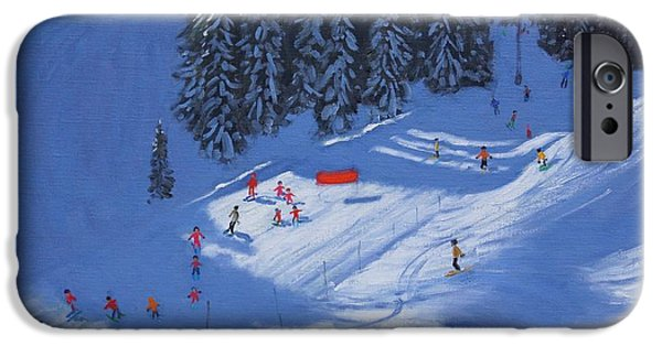 Skiing Art iPhone Cases - Ski school Morzine iPhone Case by Andrew Macara