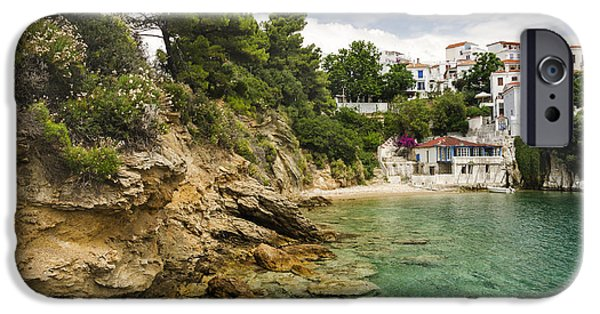 Village Pyrography iPhone Cases - Skiathos Island Greece iPhone Case by Jelena Jovanovic