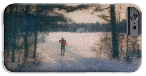 Mcentee Paintings iPhone Cases - Skier at Smith Farm Borderland State Park iPhone Case by Bill McEntee