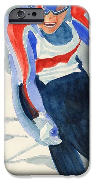 Skier iPhone Case by Fred Jinkins