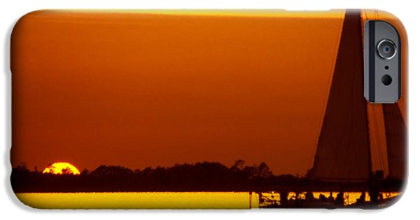 Full Sail iPhone Cases - Skipjack Sunset iPhone Case by Thomas R Fletcher