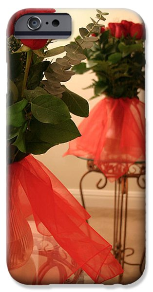 Glass Table Reflection iPhone Cases - Skirted Roses in Mirror iPhone Case by Kristin Elmquist