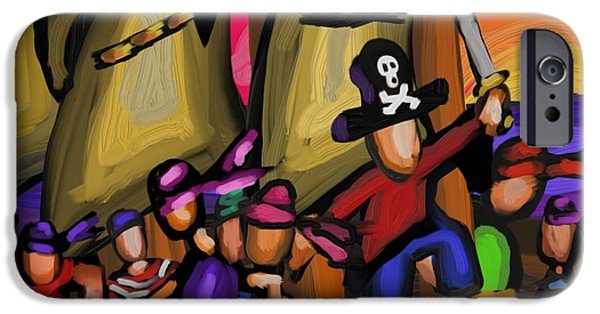 Pirate Ships iPhone Cases - Skulduggery  iPhone Case by Mark Greulach