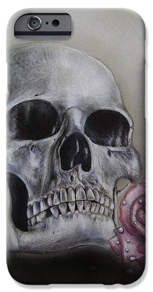 Airbrush Drawings iPhone Cases - Skull and rose iPhone Case by Jonathan Anderson