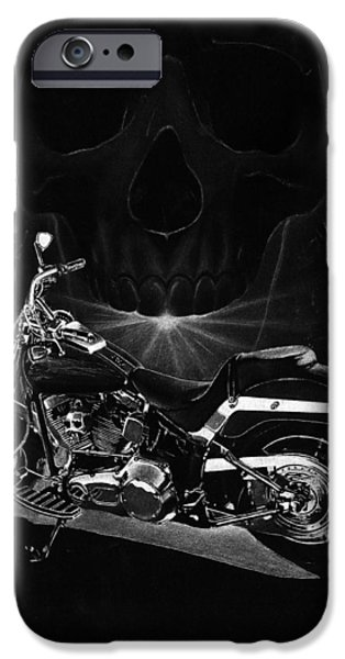 Black And White Drawings iPhone Cases - Skull Harley iPhone Case by Tim Dangaran