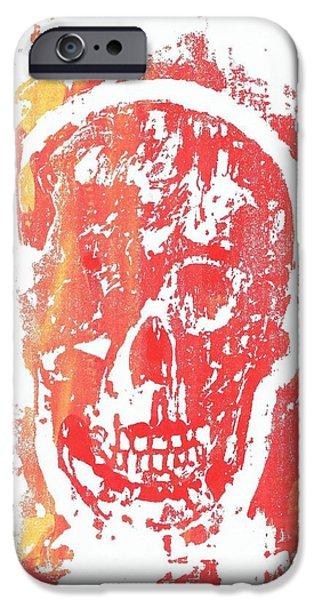 Yellow Reliefs iPhone Cases - Skull in Yellow and Red iPhone Case by Vincent Vincent