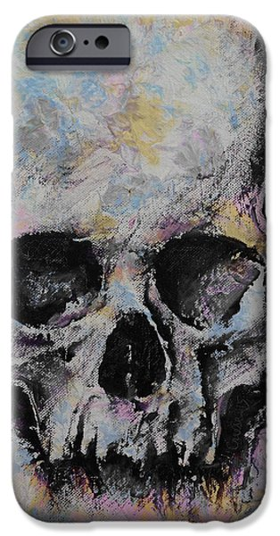 Michael iPhone Cases - Medieval Skull iPhone Case by Michael Creese