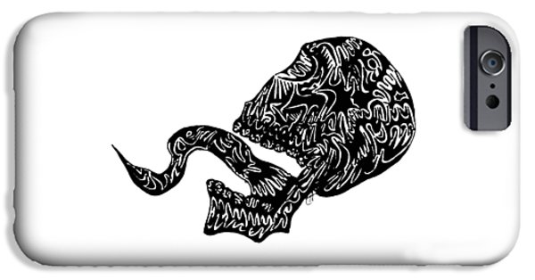 Abstract Digital Drawings iPhone Cases - Skull Tongue iPhone Case by AR Teeter