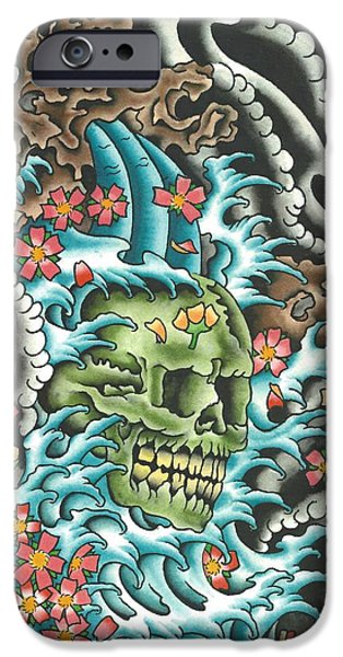 Tattoo Flash iPhone Cases - Skull with Fingerwaves iPhone Case by Scott Bohrer