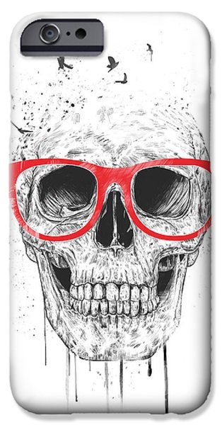 Skull iPhone Cases - Skull with red glasses iPhone Case by Balazs Solti