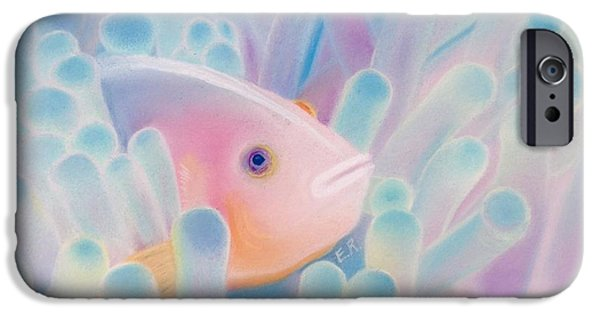 Marine Pastels iPhone Cases - Skunk Clownfish  iPhone Case by Eric Rosales