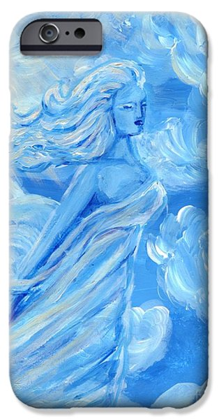 Angel Blues Sculptures iPhone Cases - Sky Goddess iPhone Case by Cassandra Geernaert
