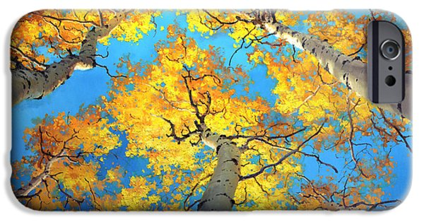 Fall Scenes iPhone Cases - Sky High Aspen Trees iPhone Case by Gary Kim