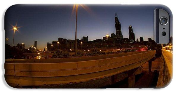 Willis Tower iPhone Cases - Skyline and interchange at dawn iPhone Case by Sven Brogren