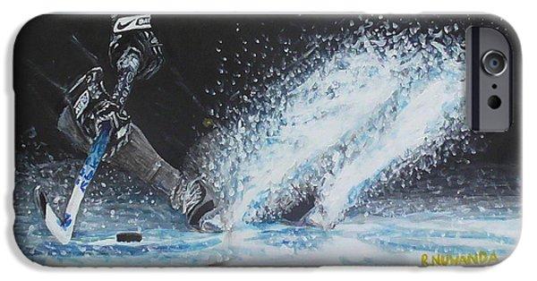 Hockey Paintings iPhone Cases - Slap Shot iPhone Case by Robbie Nuwanda