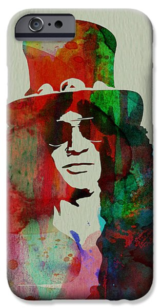 Band Paintings iPhone Cases - Slash Guns N Roses iPhone Case by Naxart Studio