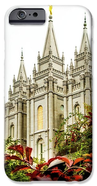 Angel Moroni iPhone Cases - SLC Temple Angle iPhone Case by La Rae  Roberts
