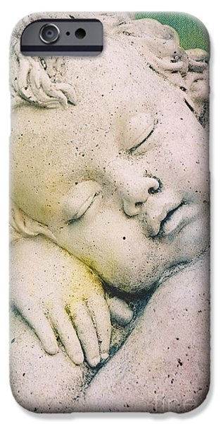 Angel Blues Mixed Media iPhone Cases - Sleeping Angel iPhone Case by Angela Doelling AD DESIGN Photo and PhotoArt