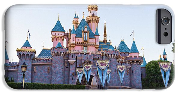 Little Girl iPhone Cases - Sleeping Beautys Castle Disneyland iPhone Case by Heidi Smith