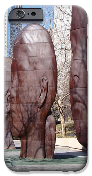 Chicago Sculptures iPhone Cases - Sleeping Faces and Shadows iPhone Case by Mea