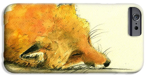 Fox Paintings iPhone Cases - Sleeping fox iPhone Case by Juan  Bosco