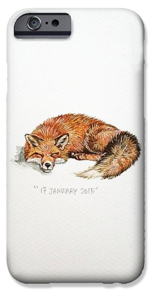 Red Fox iPhone Cases - Sleeping fox iPhone Case by Venie Tee