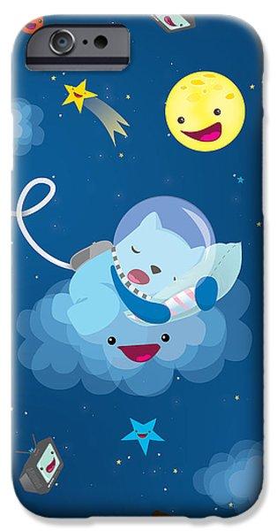 Kids iPhone Cases - Sleepy in space iPhone Case by Seedys