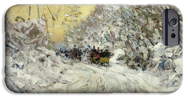 Childe iPhone Cases - Sleigh Ride in Central Park iPhone Case by Childe Hassam