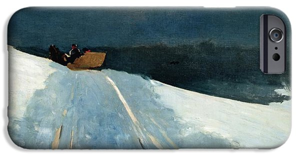 Snowy Night iPhone Cases - Sleigh Ride iPhone Case by Winslow Homer