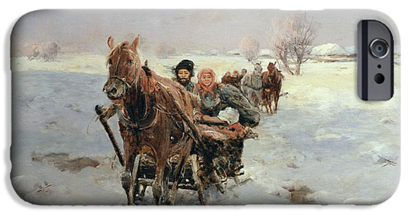 Pulling Paintings iPhone Cases - Sleighs in a Winter Landscape iPhone Case by Janina Konarsky