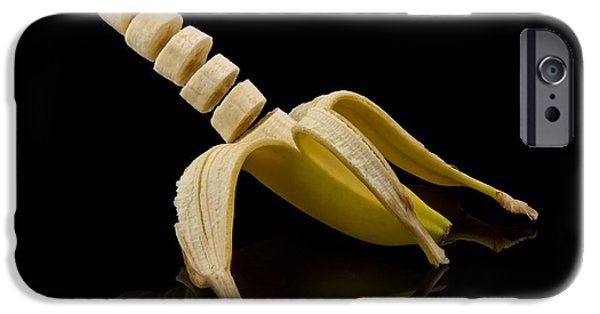 Bits iPhone Cases - Sliced Banana iPhone Case by Gert Lavsen