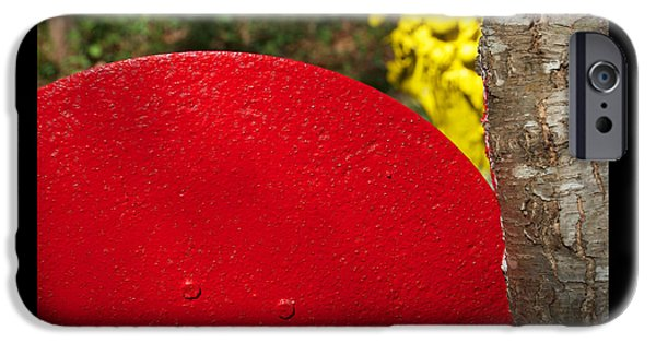 Red Abstract Sculptures iPhone Cases - Slicing Yellow iPhone Case by Eliza McNally