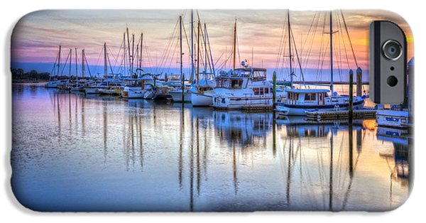 Sailboats In Harbor iPhone Cases - Sliding into Sunset iPhone Case by Debra and Dave Vanderlaan