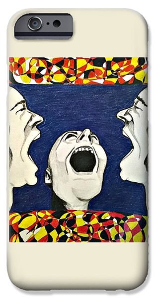 Disorder Drawings iPhone Cases - Slipping  iPhone Case by Missy  Brage