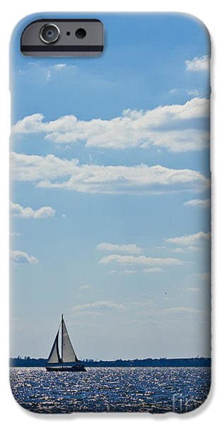 Sailing iPhone Cases - Sloop Sailing on the Harbor iPhone Case by Dustin K Ryan