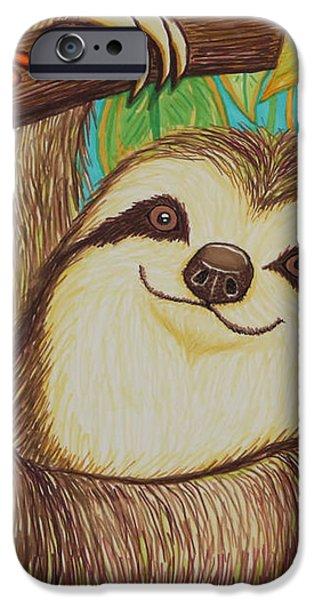 Sloth and frog iPhone Case by Nick Gustafson