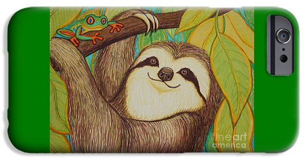Sloth iPhone Cases - Sloth and frog iPhone Case by Nick Gustafson