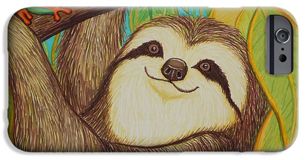 Sloth Drawings iPhone Cases - Sloth and frog iPhone Case by Nick Gustafson
