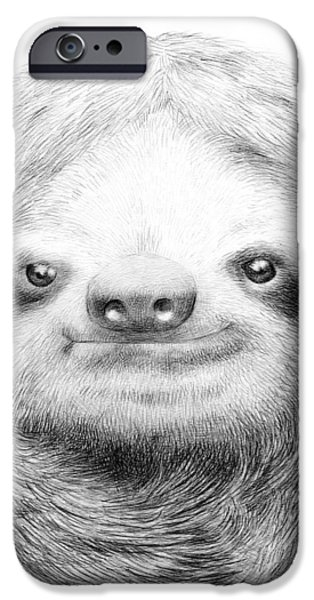 Animal Drawings iPhone Cases - Sloth iPhone Case by Eric Fan
