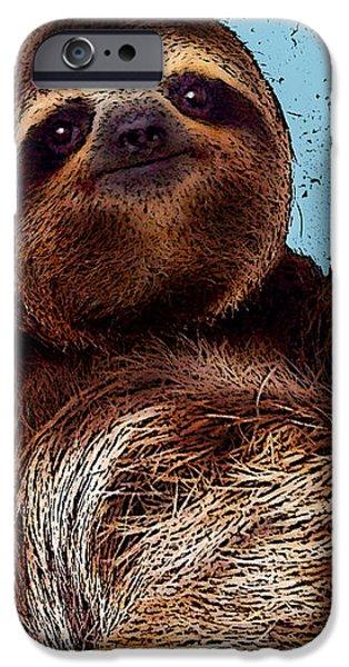 Sloth iPhone Cases - Sloth Pop Art iPhone Case by Bibi Romer