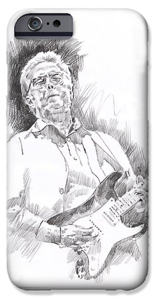 Fender Strat Paintings iPhone Cases - Slowhand iPhone Case by David Lloyd Glover